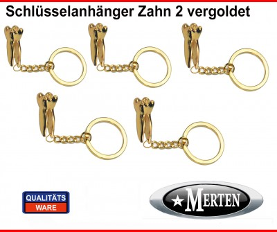 5 x Schlüsselanhänger  Backenzahn vergoldet