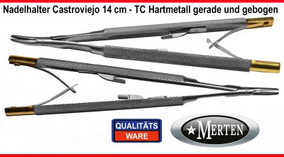 Nadelhalter Castroviejo Mikro  TC Hartmetall - 14 cm Länge - geb