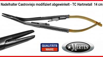 Nadelhalter  Castroviejo Mikro  TC Hartmetall -  14 cm - abgewin