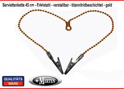 Serviettenkette - Lätzchenkette - Kugelkette - goldfarben