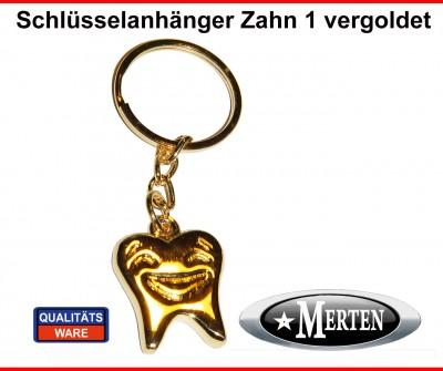 Schlüsselanhänger  Zahn vergoldet SMILEY
