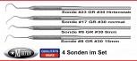 4 zahnmedizinische Sonden  -  mit Rundgriff 16 cm lang