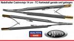 Nadelhalter Castroviejo Mikro  TC Hartmetall - 14 cm Länge - gebogen und gerade