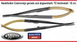 Nadelhalter  Castroviejo Mikro  TC  Hartmetall - 18 cm Länge - GERADE  + GEBOGEN