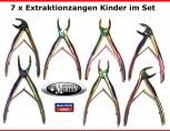 7 Extraktionszangen Kinder  - Edelstahl - Titannitridbeschichtet
