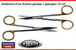 2 x Goldmann -Fox Schere gebogen / gerade 14 cm TC Hartmetalleinlage - PERMA CUT