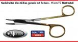 Mini Gillies Nadelhalter Edelstahl mit  Schere TC Hartmetall  15 cm