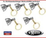 5 Schlüsselanhänger  Abdrucklöffel  perforiert - Zahnarzt - Kettchen goldfarben