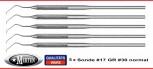 5  zahnmedizinische Sonden  -   Fig. 17 normal - spitz -   Rundgriff 16 cm
