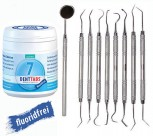 Denttabs Zahnputztabletten ohne Fluorid 1 x 125 +Zahnsteinentferner Zahnspiegel